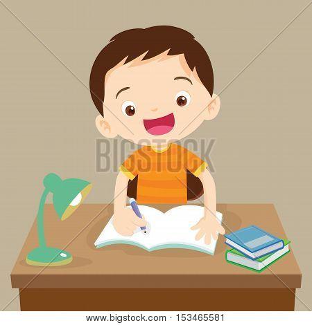 Cute Boy Working On Homework