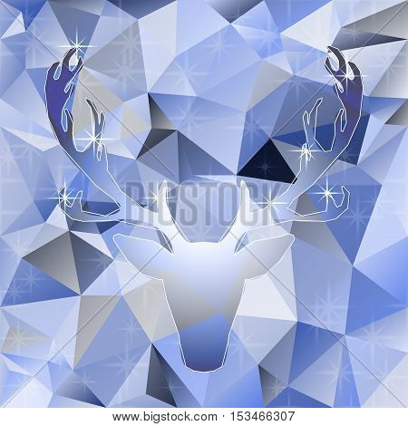 Deer head vector polygonal mosaic abstract illustration elk silhouette background