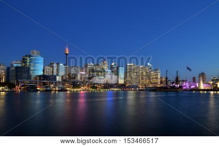 SYDNEY AUSTRALIA - October 26 2015 : Night scene of Darling Harbour adjacent to the city center of Sydney and also a recreational place in Sydney central business district