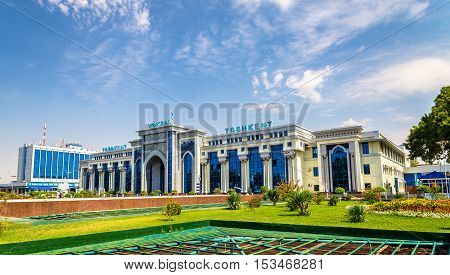 Tashkent, Uzbekistan - August 12, 2016: View of Tashkent Railway Station. All railways within Uzbekistan are operated by a state-owned stock company