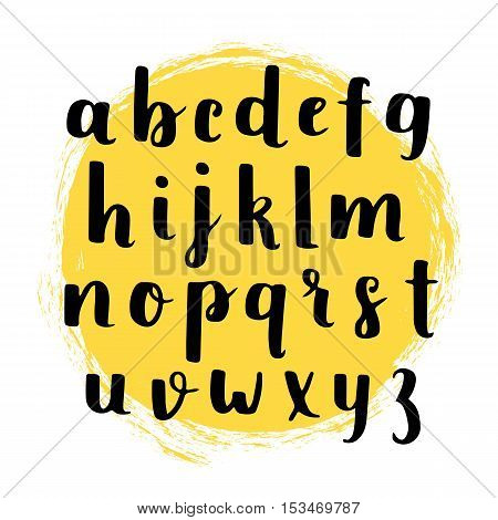 Vector Hand Drawn Alphabet. Brush Painted Letters...handwritten Script Alphabet. Hand Lettering And