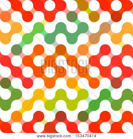 Vector geometric pattern of circles. Colored circles seamless pattern. Dots, rings, spots. Minimalistic abstract backdrop. Bright geometry template. Round mosaic shape. Retro hand drawn circles ornament