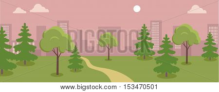 Urban cityscape with park, trees, shrubs, orange sky and white clouds. Silhouettes of buildings. Office buildings, building scenery, urban landscape, urban background, city panorama