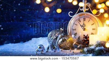 Christmas or New years eve; holiday background
