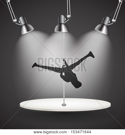 Silhouette of Dancing Striptease Girl on Pole. Vector Illustration. EPS10