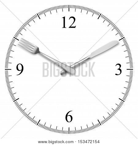 Clock made of knife and fork isolated on white background