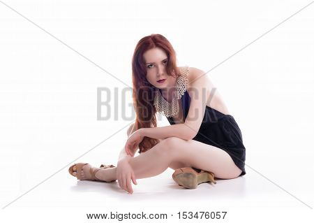 Isolated Fashion Model Sit