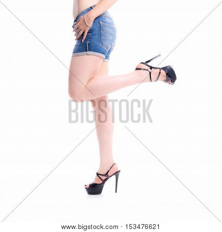 Closeup Of Woman Legs With Shorts