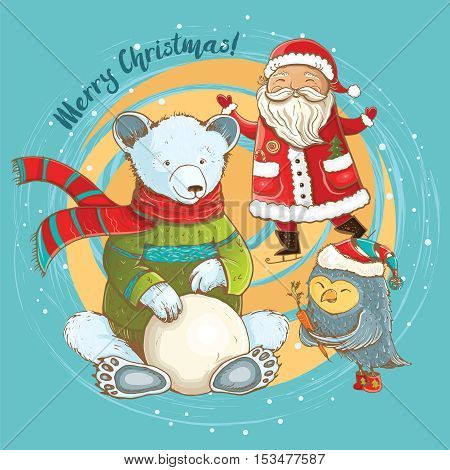 Cartoon illustration of sculpt of snowman in winter with cheerful Santa bear and owl. Vector cute christmas card with funny characters.
