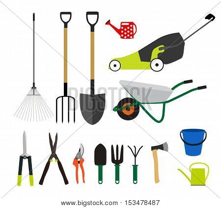 Garden Tools, Instruments Flat Icon Collection Set. Shovel, bucket, rake, secateurs, scissors, wheelbarrow and watering Vector Illustration EPS10