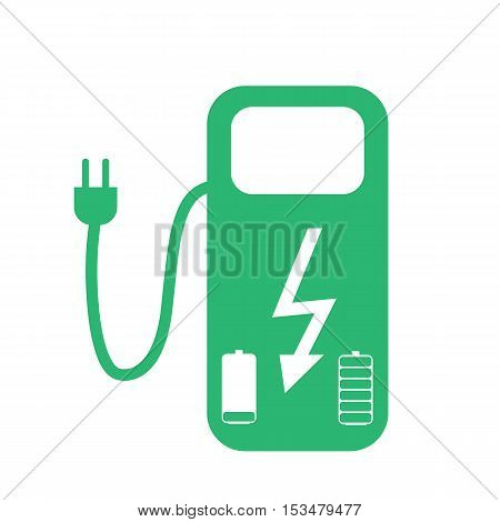 Concept Fuel Station for Electric cars on batteries. Vector Illustration. EPS10