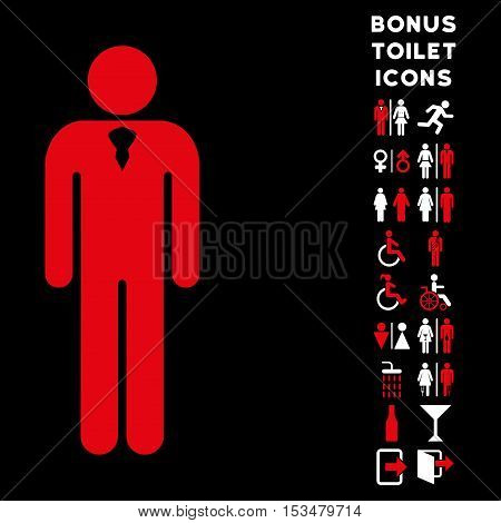 Gentleman icon and bonus gentleman and woman restroom symbols. Vector illustration style is flat iconic bicolor symbols, red and white colors, black background.