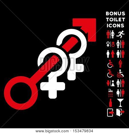 Harem icon and bonus man and lady WC symbols. Vector illustration style is flat iconic bicolor symbols, red and white colors, black background.