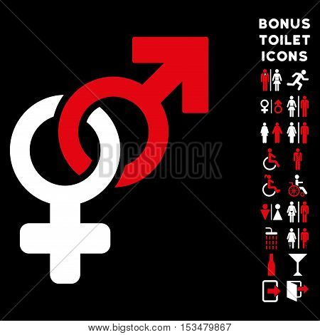 Heterosexual Symbol icon and bonus man and female WC symbols. Vector illustration style is flat iconic bicolor symbols, red and white colors, black background.