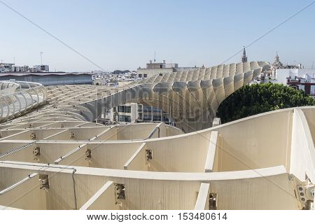 Viewpoint Metropol Parasol located in Encarnation Square Seville Spain. Mirador Metropol Parasol situado en la plaza Encarnación Sevilla España.