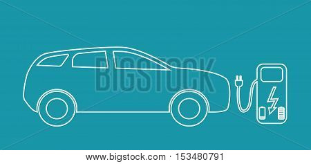 Concept Electric Car on batteries, and Fuel Station. Vector Illustration. EPS10