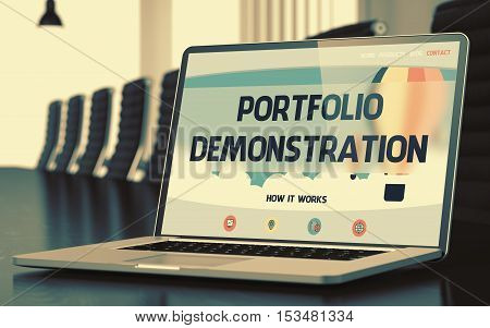 Portfolio Demonstration Concept. Closeup of Landing Page on Mobile Computer Display in Modern Conference Hall. Toned Image. Selective Focus. 3D Illustration.