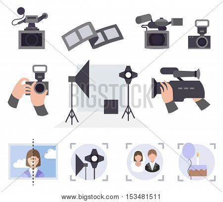 Professional photo and video studio vector service set