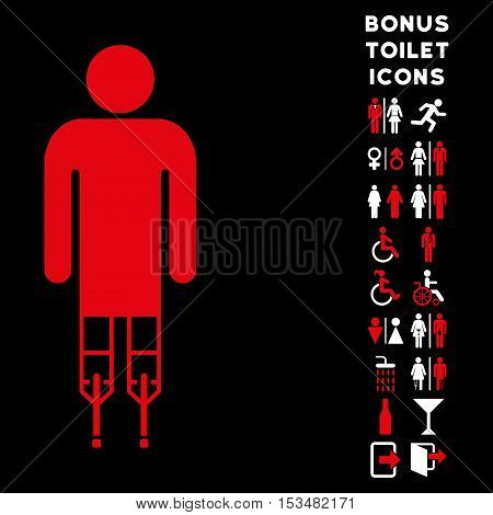 Man Crutches icon and bonus gentleman and woman restroom symbols. Vector illustration style is flat iconic bicolor symbols, red and white colors, black background.