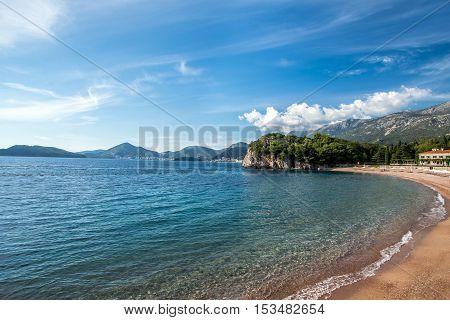 views of the Royal beach near Sveti Stefan in Montenegro