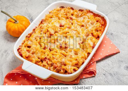 Delicious mac and cheese with ham and pumpkin