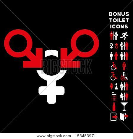Polyandry icon and bonus male and woman lavatory symbols. Vector illustration style is flat iconic bicolor symbols, red and white colors, black background.