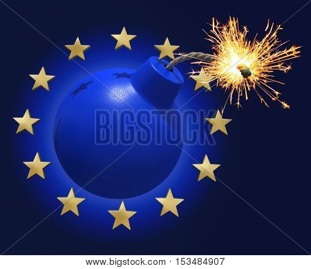 Blue bomb surrounded by stars symbolizing the Euro 3D rendering