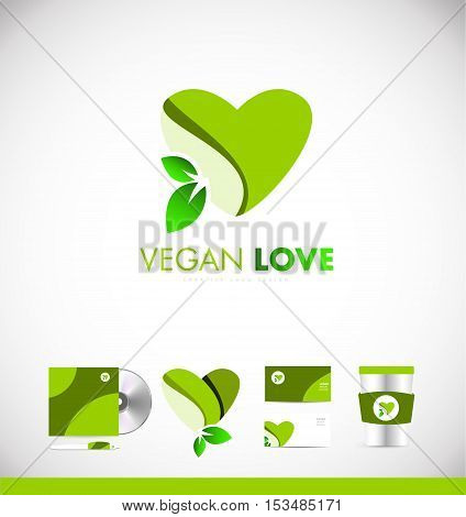 Green vegan heart leaf love concept vector logo icon sign design template corporate identity