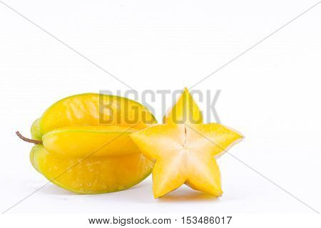 yellow star fruit carambola or star apple ( starfruit ) on white background healthy fruit food isolated