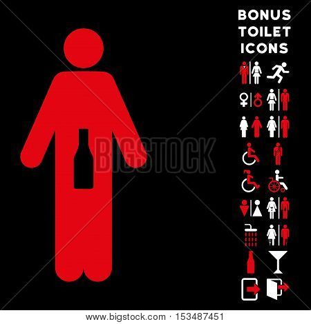 WC Man icon and bonus male and woman WC symbols. Vector illustration style is flat iconic bicolor symbols, red and white colors, black background.