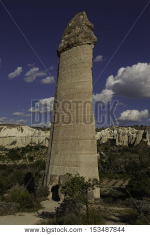 Erected rock pillars in valley in Turkey