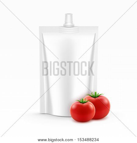 Vector Blank Plastic Stand up Pack or Pouch foil of Tomato Ketchup for Branding with Fresh Tomatoes Isolated on White Background