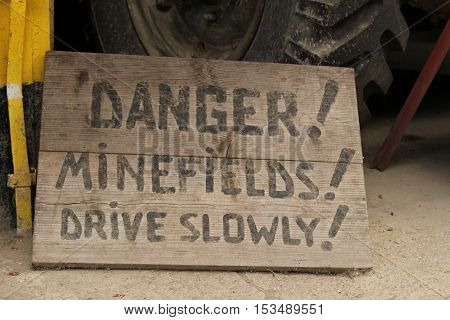 The notice about minefields