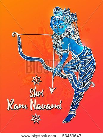 Ornament beautiful card with hindu god sri Rama Geometric element hand drawn image lord Rama