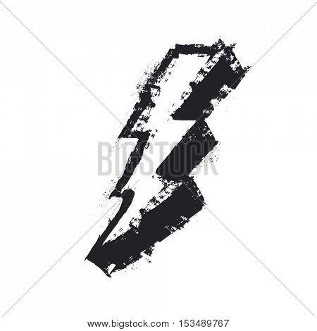 Lightning bolt grunge icon. Grunge design element. Isolated on white