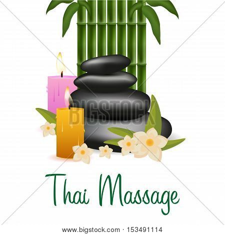 Spa Salon Banner With Stones And Bamboo. Thai Massage. Wood Texture. Vector Illustration