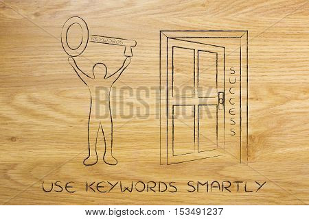 Keywords Opening The Door To Success, Man Holding Huge Key