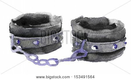 watercolor sketch of handcuffs on white background
