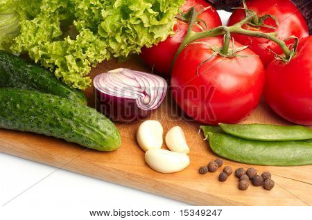 Fresh vegetables on wooden hardboard poster
