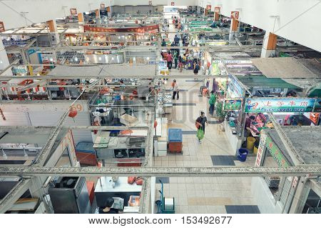 Singapore, Republic of Singapore - May 5, 2016: Tekka centre market in Little India quater. panorama from above