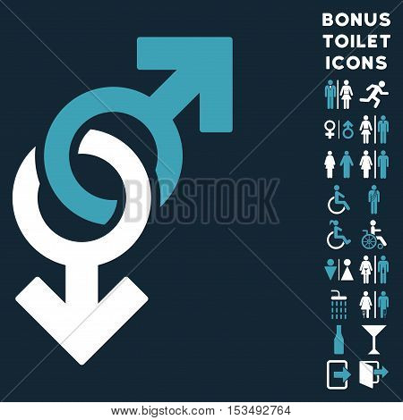 Gay Symbol icon and bonus male and female restroom symbols. Vector illustration style is flat iconic bicolor symbols, blue and white colors, dark blue background.