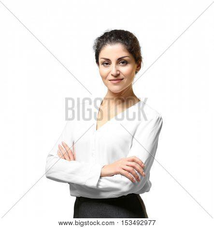 Portrait of successful mature businesswoman on light background
