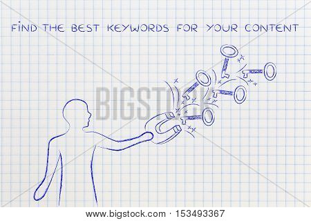 Keywords To Reach Success, Man With Magnet Catching Keys