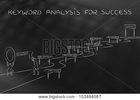 Keywords To Reach Success, Men With Key On Intricate Path