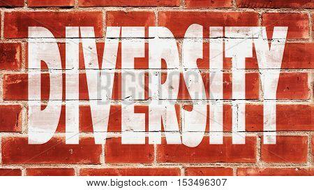 Diversity Written On Red A Brick Wall