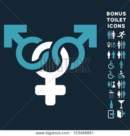 Polyandry icon and bonus male and lady restroom symbols. Vector illustration style is flat iconic bicolor symbols, blue and white colors, dark blue background.