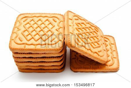 Biscuit; square; white; cookies; stack; background; isolated; cracker;