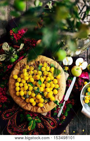 Pie With Fruits And Marzipan. Pie With Fresh Pear And Apples. A