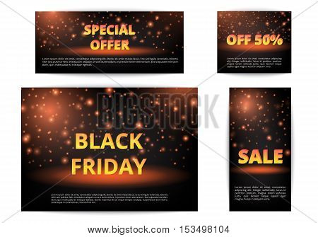 Set of banners special offer. Black Friday sale. Christmas shopping.