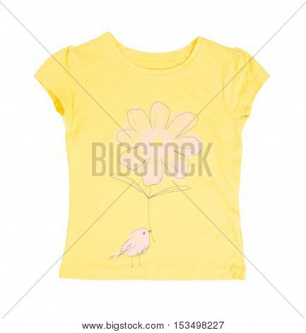 Yellow cotton t-shirt with flower and bird. Isolated on a white background.